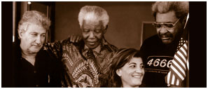 Kimia Zabihyan with Don King and Nelson Mandela